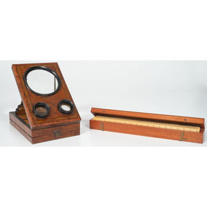 Burl Folding Stereographoscope and Set of Architect's Wooden Rulers