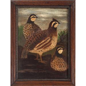 Folk Art Painting of Bobwhites
