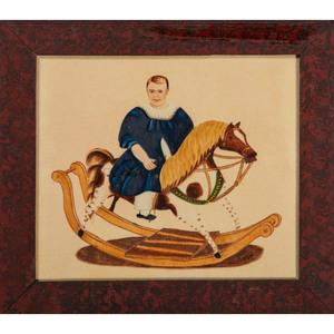 Folk Art Theorem of a Boy on a Rocking Horse by William Rank