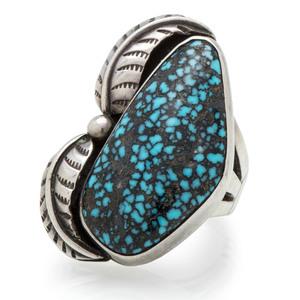 Preston Monongye (Hopi, 1927-1987) Silver and Lander Turquoise Ring
