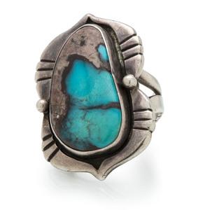 Preston Monongye (Hopi, 1927-1987) Silver and Turquoise Ring