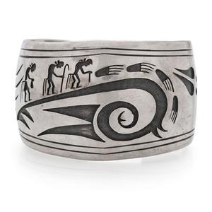 Preston Monongye (Hopi, 1927-1987) Silver Overlay and Turquoise Cuff Bracelet