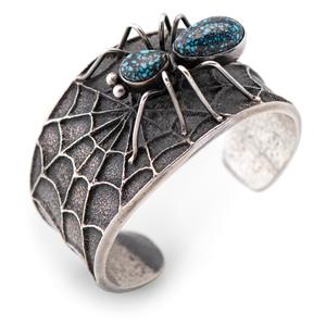 Preston Monongye (Hopi, 1927-1987) Tufa Cast Silver Cuff Bracelet, with Lander Turquoise Spider