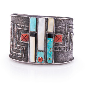 Preston Monongye (Hopi, 1927-1987) Tufa Cast Silver Cuff Bracelet, with Inlay