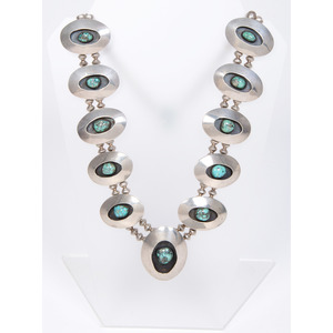 Navajo Turquoise and Silver Shadow Box Necklace
