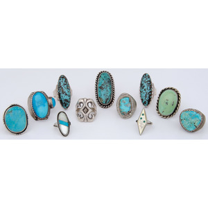 Group of Turquoise and Silver Rings