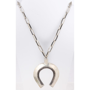 Navajo Silver Necklace with Sand Cast Naja Pendant