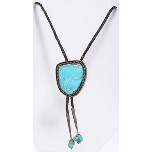 Bolo Tie with Turquoise and Silver Slide