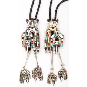 Herbert & Esther Cellicion (Zuni, 20th centruy) Mosaic Inlay Rainbow Man Bolo Tie PLUS