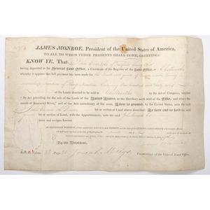 [Americana - Autographs - President Monroe Land Grant] 1821 Land Grant Signed by President James Monroe & Josiah Meigs