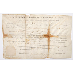 [Americana - Autographs - President Madison Land Grant]  1816 Partially Printed Land Grant Signed by President James Madison & Josiah Meigs