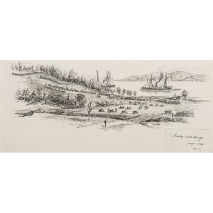 Turkey Creek Bridge, Peninsula Campaign, Pen and Ink Sketch by Charles A. Vanderhoof