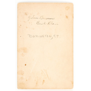 Cabinet Card of John Brown's Birthplace, Torrington, CT, Featuring African American Subject