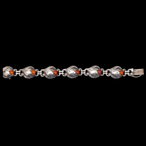 Evald Nielsen Sterling Silver Amber Bracelet