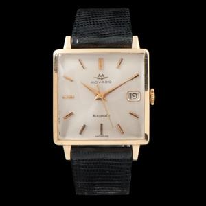 Movado Kingmatic Square 14k Gold Wristwatch
