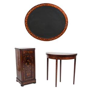 Marquetry Game Table, Stand, and Mirror