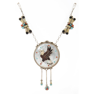 Don and Velma Dewa (Zuni, 20th century) Silver and Channel Inlay Eagle Necklace