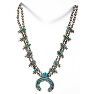 Zuni Silver and Petit Point Turquoise Squash Blossom Necklace