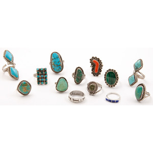 An Assortment of Navajo, Zuni, and Southwestern Rings