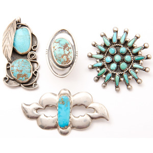 Navajo, Zuni, and Southwestern Silver and Turquoise Pins and Pendants