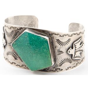 Fred Harvy Era Stamped Silver Cuff Bracelet