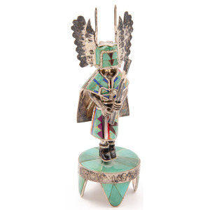 David Freeland Jr. (American, 20th century) Sterling Silver Crow Mother Katsina Figure with Inlay Mask and Kilt