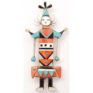 Sterling Silver Zuni Figure Pendant / Pin with Mosaic Inlay
