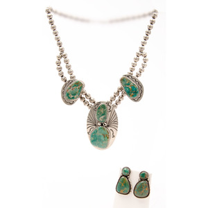 Tim Guerro (Dine, 20th century) Navajo Silver and Turquoise Necklace PLUS