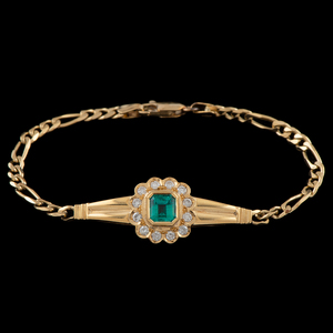 18k Gold Colombian Emerald Bracelet With GIA Certificate