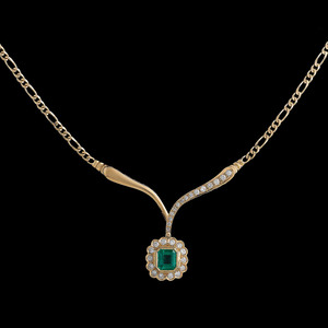 18k Gold Colombian Emerald Necklace With GIA Certificate