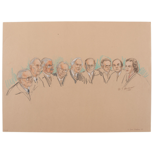Joan Andrew, Washington Post and CNN Sketch Artist,Nine Original Sketches of Supreme Court Justices, 1981-1983