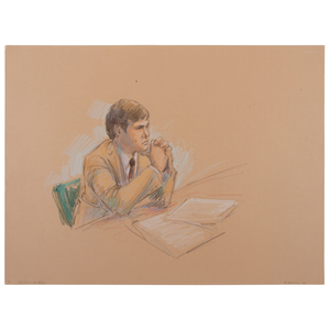 Joan Andrew, Washington Post and CNN Sketch Artist, 24 Original Sketches Documenting the Trial of John Hinckley, Jr., For his Attempted Assassination of Ronald Reagan