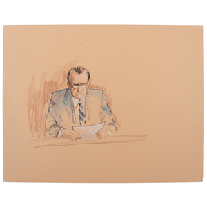 Joan Andrew, Washington Post and CNN Sketch Artist, 16 Original Sketches Documenting the 1980 Trial of Felt