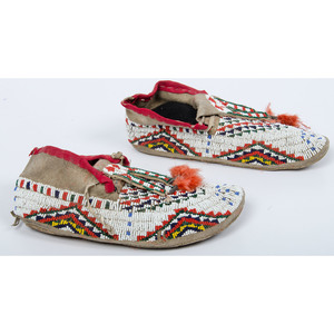 Sioux Beaded Hide Moccasins, Collected by Dr. Cecil L. Gatten (1899-1970)