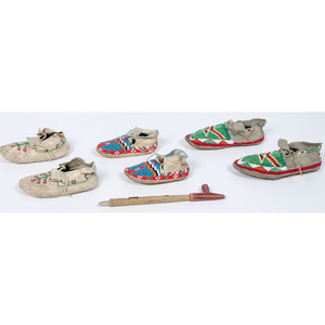 Northern Plains Children's Beaded Hide Moccasins, PLUS a Diminutive-size Carlinite Pipe, Collected by Dr. Cecil L. Gatten (1899-1970)