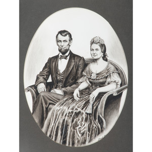 Lloyd Ostendorf, Pen and Ink Wash Drawing of Abraham and Mary Todd Lincoln