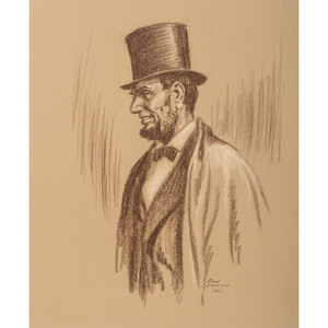Lloyd Ostendorf, Two Charcoal Drawings of Abraham Lincoln as Lawyer and President