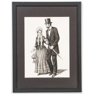 Lloyd Ostendorf, Pen and Ink Wash Drawing of President Lincoln Strolling with Mary Todd Lincoln