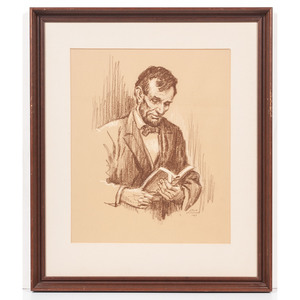 Lloyd Ostendorf, Charcoal Drawing of Abraham Lincoln Reading