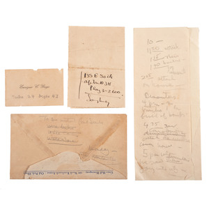 Ernest Hemingway, Collection of Hand Notations