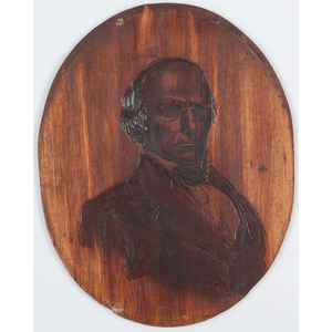 1856 Wood Burned Portrait of Daniel Webster, Plus