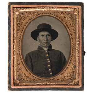 Sixth Plate Tintype of Possible American Indian Private in Federal Uniform