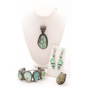 Silver and Turquoise Cuff Bracelet, Pendant, Ring, and Earrings