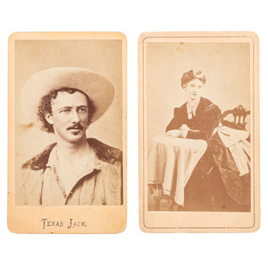 Texas Jack Omohundro and Wife, Two CDVs