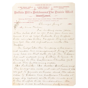 Buffalo Bill's Wild West, Rare Letter from Buffalo Bill's Dutchman and the Prairie Waif Show Manager