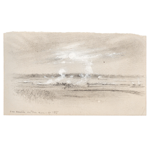Civil War Pencil and Gouache Battlefield Sketch by Alfred R. Waud