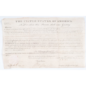 John Quincy Adams Presidential Signed Land Grant, Plus