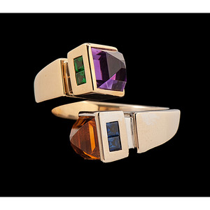 18k Bicolor Gold Multi-Stone Bypass Ring