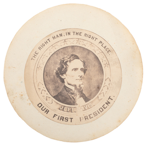 Jefferson Davis, Presidential Inauguration Medallion and CDV