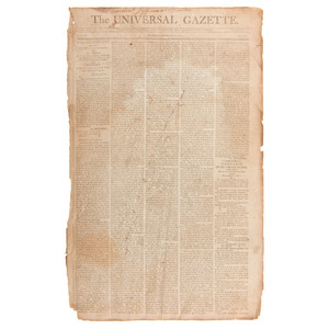 [Americana - Thomas Jefferson - Historic Newspapers] Jefferson's First State of the Union Printed in Washington's Universal Gazette
